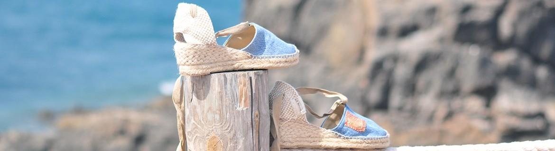 Espadrilles para mujer hechas a mano con denim vintage reciclados